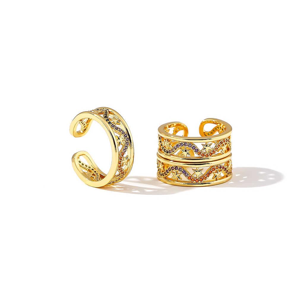 Yhpup Luxury Hollow Star ผู้หญิงเรขาคณิตแหวนทองแดงหลายสี CZ Luxury Gold เครื่องประดับเครื่องประดับสำหรับหญิง PARTY ของขวัญ