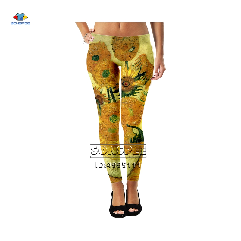 SONSPEE 3D Print Vincent Van Gogh Beauty Sunflowers Wheatfield  Girls Ladies Women Mid-waist Leggings Sexy Ankle Pants Legging