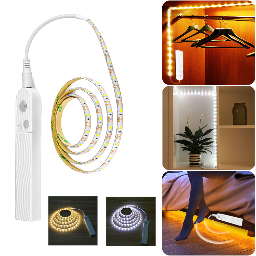 4 AAA Battery Operated Night Lamp Flexible LED Strip With PIR Motion Sensor For Cabinet Toilet Bedroom Bedside Stairs Lighting