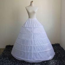Novia mujer vestido de novia falda traje de soporte enagua Slip 6 Hoops Yarnless enaguas faldas de cintura elástica E15E