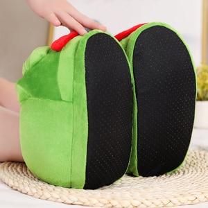 Image 5 - 1 pc sehr schlechte Traurig frosch slipper grün frosch baumwolle hausschuhe frosch cartoon baumwolle plüsch hausschuhe hause innen grüne schuhe