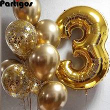 Globos de aluminio con forma de número para decoración de fiesta de cumpleaños para niños y niñas, pelota de látex de 1, 2, 3, 4, 5, 6, 7, 8 y 9 años, 10 Uds.