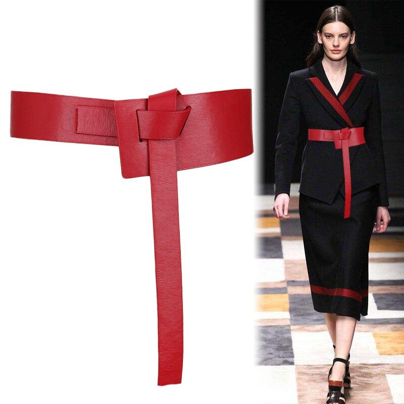 New Design Women Knot Waistbands Wide Long Belts Soft PU Leather Fashion Woman Cummerbunds Dress Decorate DIY Bow Buckle Gifts