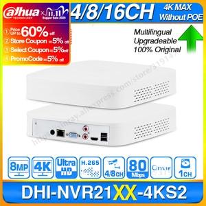 Image 1 - Dahua Original 4K NVR NVR2104 4KS2 NVR2108 4KS2 NVR2116 4KS2 4/8/16CH 1U Lite Network Video Recorder H265 For IP Camera System