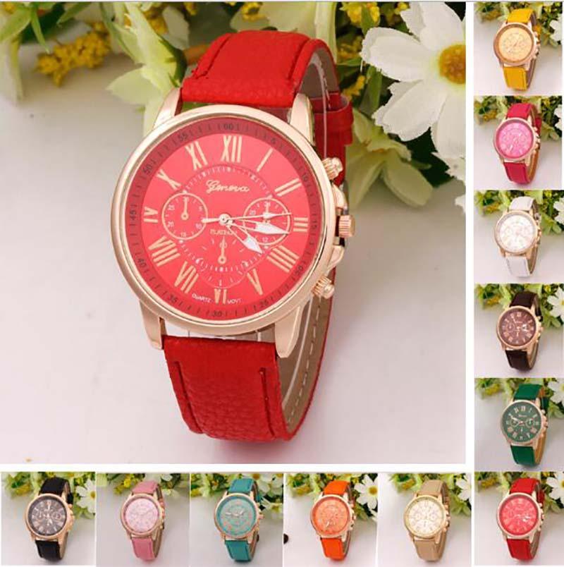 Luxury Brand Watch Womens 1pcs/lot Roman Numerals Friends Gift Leather Quartz Men Watch Dress Clock Wristwatch Montre Femme 2020