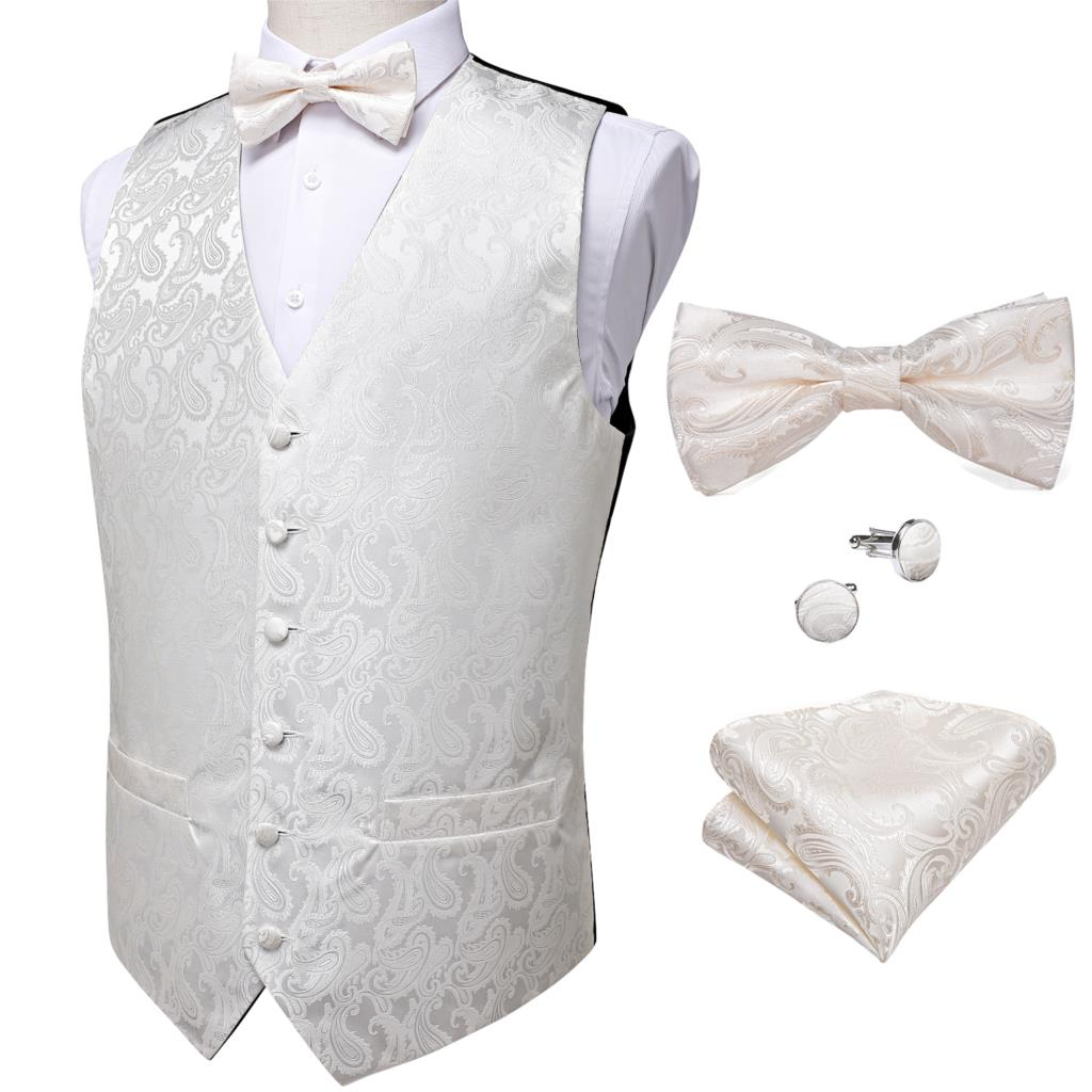Ivory Paisley Vest with Bow Tie
