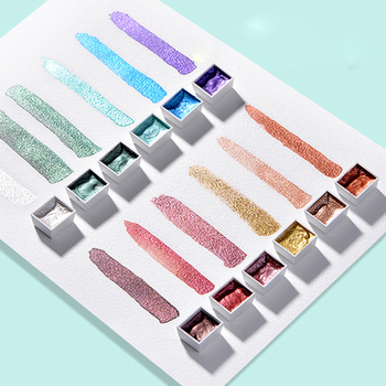 12 kolorów błyszczące perłowe stałe akwarela Pigment metaliczny kolor kid akwarela malarstwo początkujący ręcznie malowane dostaw sztuki tanie i dobre opinie CN (pochodzenie) Zestaw 3 lata Na płótnie Papier