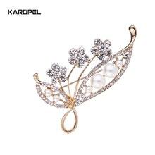 Karopel 2019 Korean pearl rhinestone brooch alloy diamond brooch women's clothing pin zinc alloy artificial diamond crown pin brooch silver