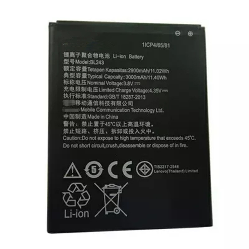 BL243 Phone Lithium Replacement Battery 2900mAh Batterij for Lenovo K3 Note K50-T3S K50-T5 A7000 A7600-M batteries image