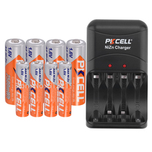 4PCS 1.6V NI ZN AAA battery +4pcs AA rechargeable batteries packed with NIZN Battery charger for AA/AAA NI* ZN battery PKCELL