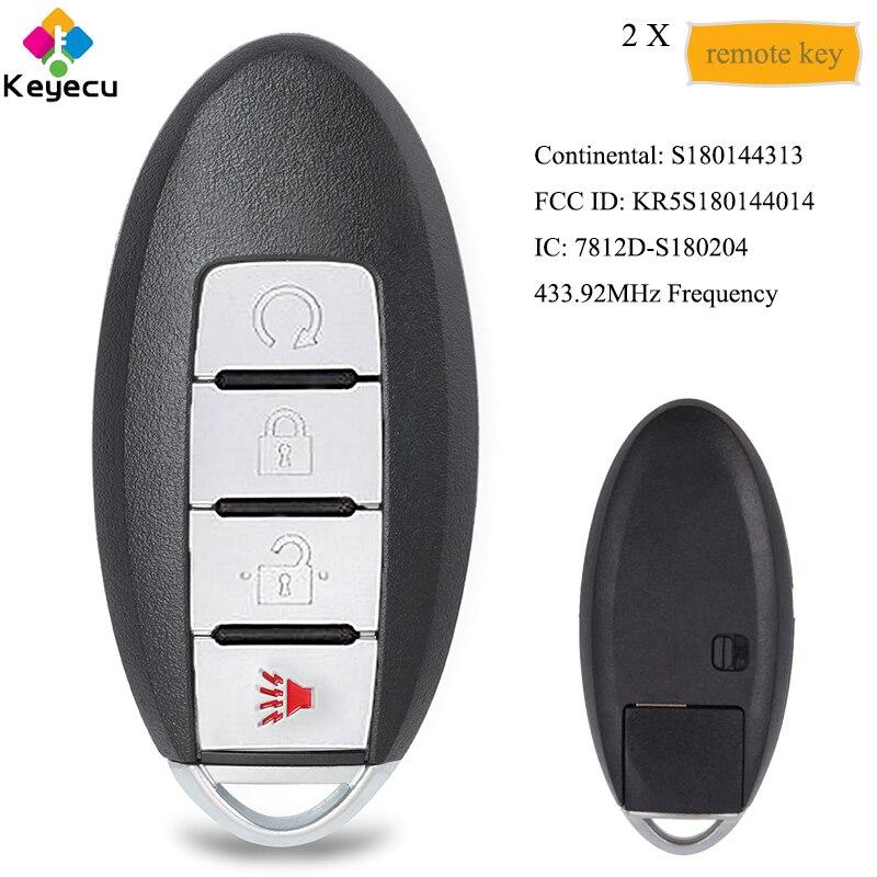 KEYECU paire clé de voiture à distance intelligente avec 4 boutons 433.92 MHz-FOB pour Nissan Pathfinder Titan Murano 2015-2018 FCC: KR5S180144014