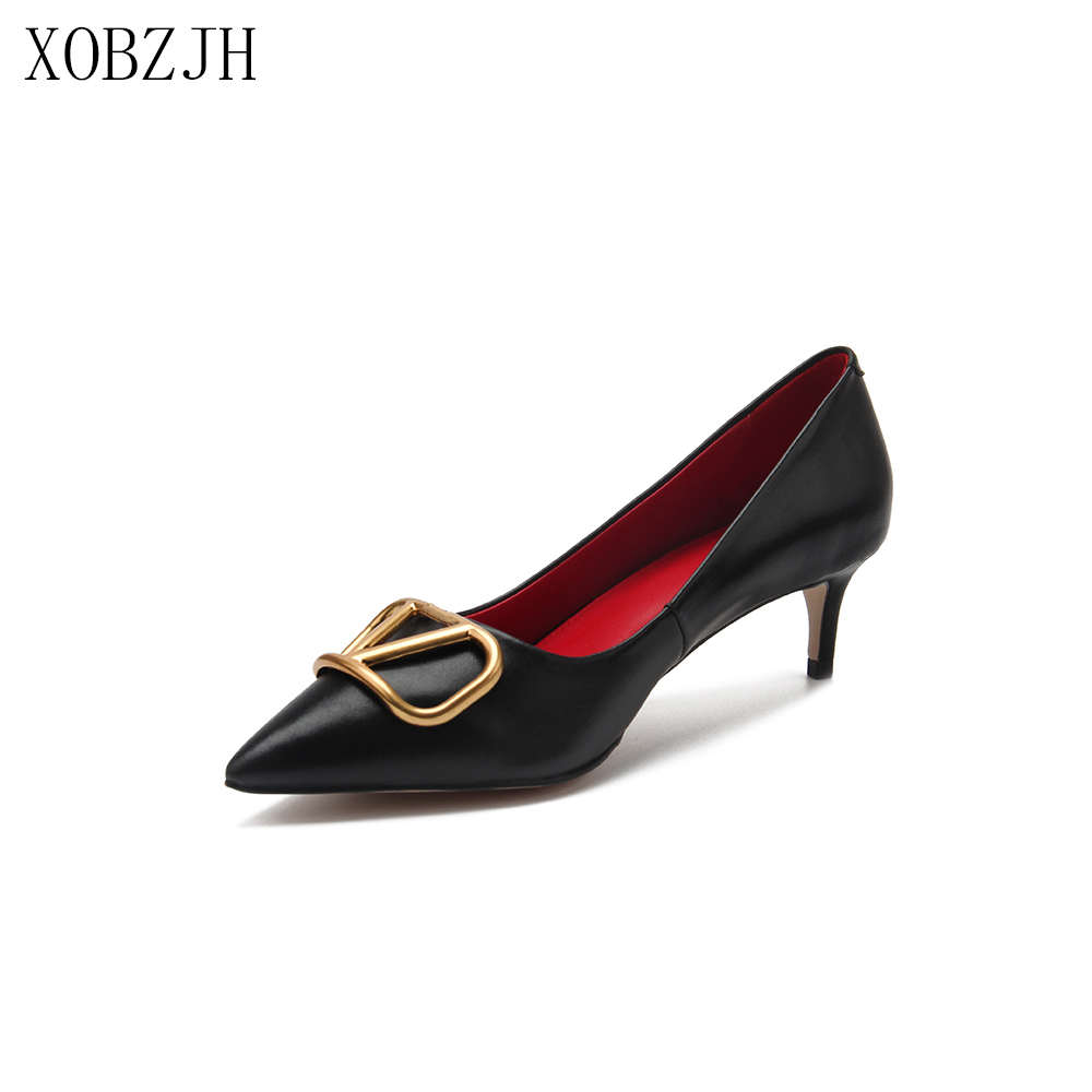 Italian Office Shoes Women Heels Pumps 2019 Luxury Brand Designer Pumps Black White Pink Red Genuine Leather V Shoes Woman
