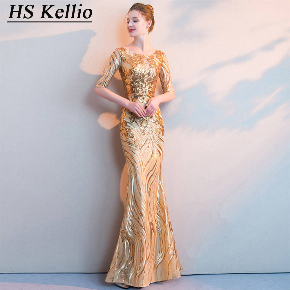 HS Kellio Mother Of The Bride Dress With Half Sleeves Gold Mermaid Formal Dresses