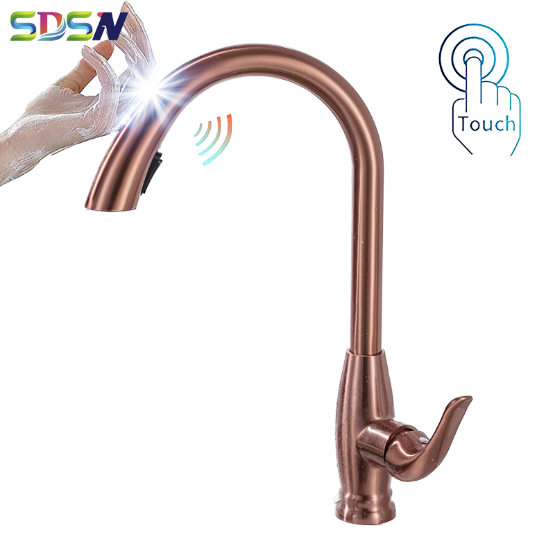 Touch Kitchen Faucet SDSN Rose Gold Pull Out Kitchen Sink Faucets Sensor Pull Down Kitchen Mixer Tap Gold Touch Kitchen Faucets