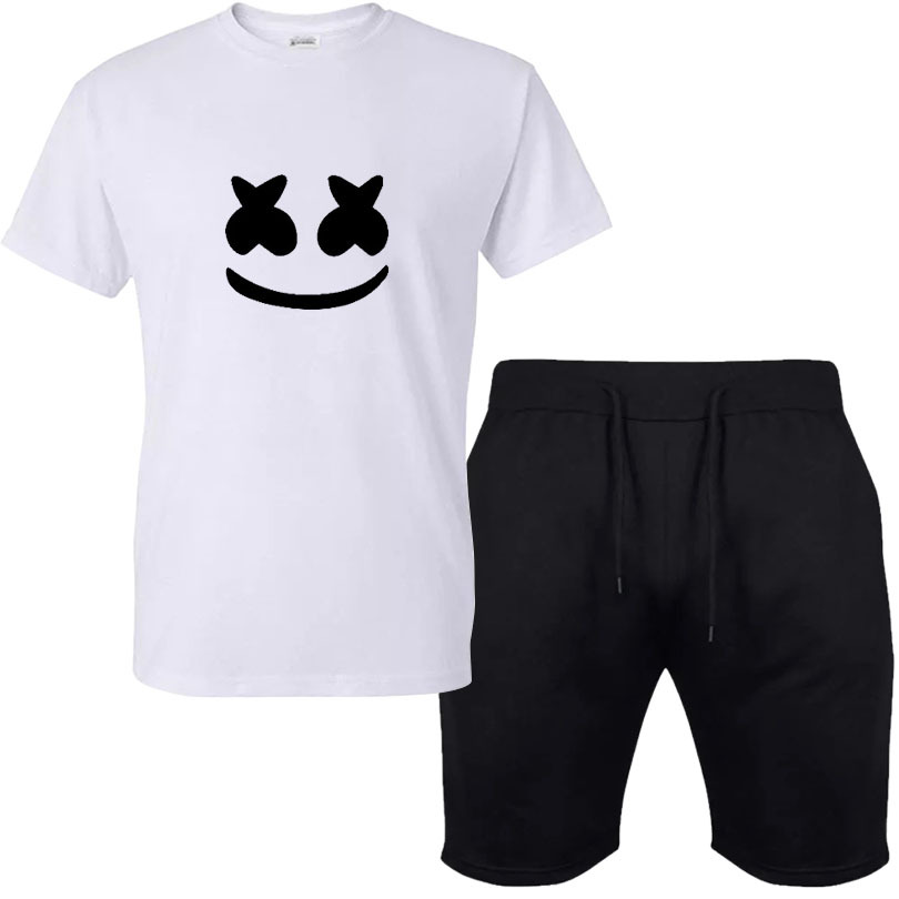 Hot Sales Printed Leisure Suit Solid Color T-shirt Printed Lettered Smiley Pattern Collocation Pure Cotton Black Shorts