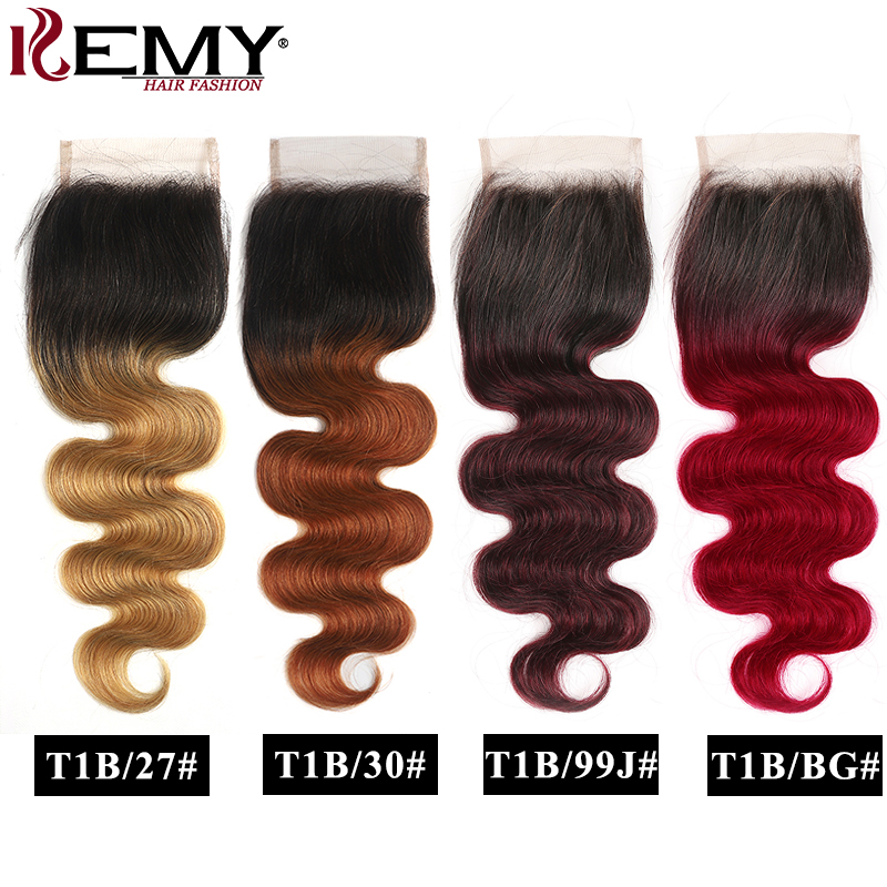 4x4 Lace Closure Brazilian Straight Ombre Human Hair Lace Closure 8-20Inch Free/Middle Part Swiss Lace Closure Non-Remy KEMY