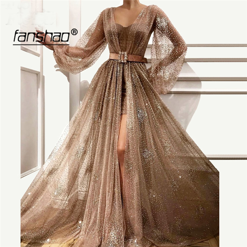 Brown Muslim Evening Dresses Puff Sleeves See Though Slit Sequin Lace Sashes Islamic Dubai Kaftan Saudi Arabic Prom Dress