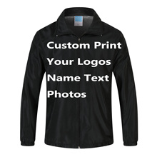 Custom Jacket Windbreaker Diy Print Borduren Logo Ontwerp Foto Dunne Wind Proof Jas Jassen Reclame Bedrijf Service