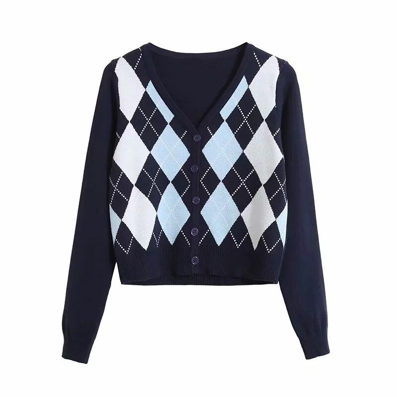 2020 Knitted cardigan women sweaters winter tops korean style button Knitted sweater women vintage Argrle print cardigan kawaii 2