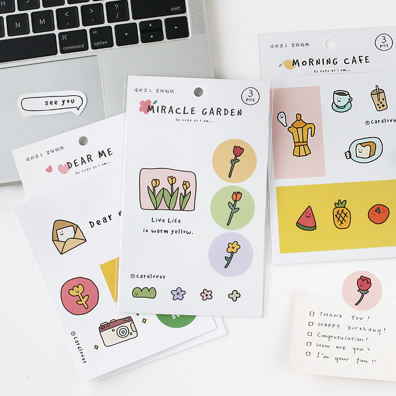 SIXONE Ins Cartoon Cute Flowers Decorative Sticker Korea Student Notebook Hand Account Concise Sealing Labels Sticker Stationery