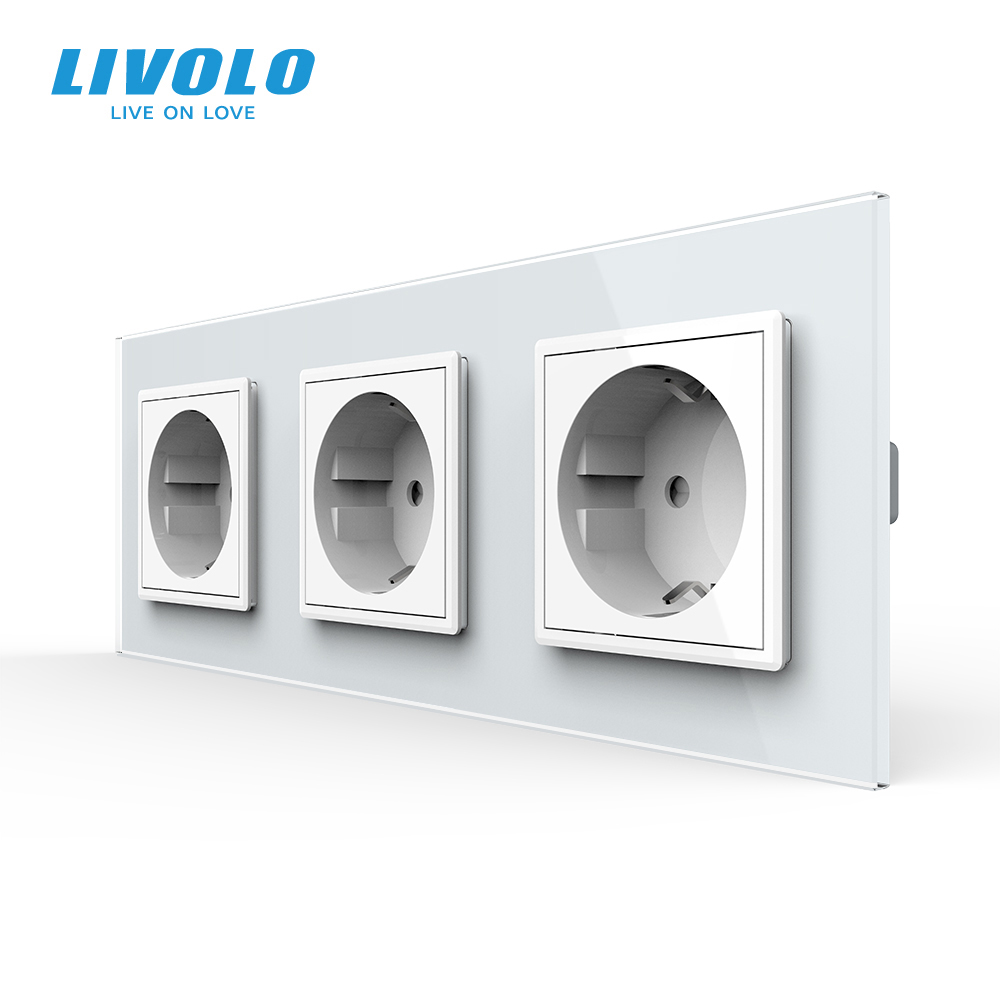 Livolo New EU Standard Power Socket Outlet Panel Triple Wall Power Outlet Without PlugToughened Glass C7C3EU-11 2 3 5