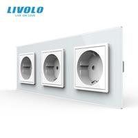 Livolo New UE Presa di Corrente Standard, Presa Pannello, Tripla Presa di Corrente a Muro Senza Spina, vetro temperato C7C3EU-11/2/3/5
