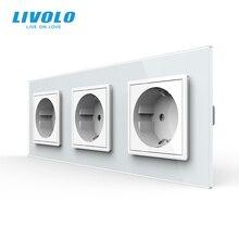 Livolo החדש האיחוד האירופי תקן שקע חשמל, שקע, לשלושה חשמל בקיר ללא תקע, זכוכית משוריינת C7C3EU 11/2/3/5