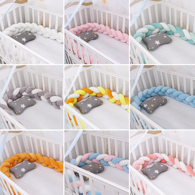 Fashionable 19-27 Baby Bed Crib Bumper 1.5M/2M/3M Baby Nest Protector Weaving Plush Twist Knot Cot Bumper Dropshipping Infantil