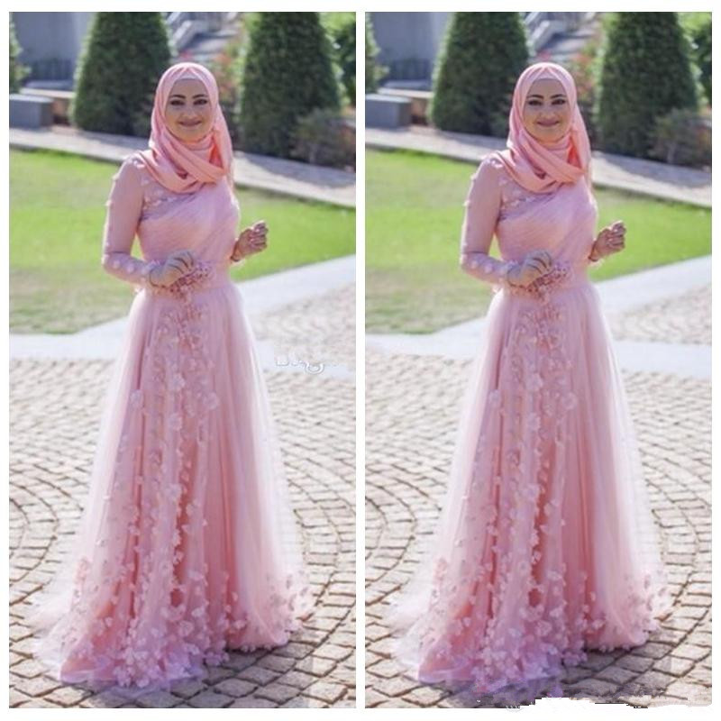 2019 Muslim Evening Wear Gown Arabic Pink A Line Long Sleeves Pleats Plus Size Prom Dress With Flowers Formal Party Prom Dresses