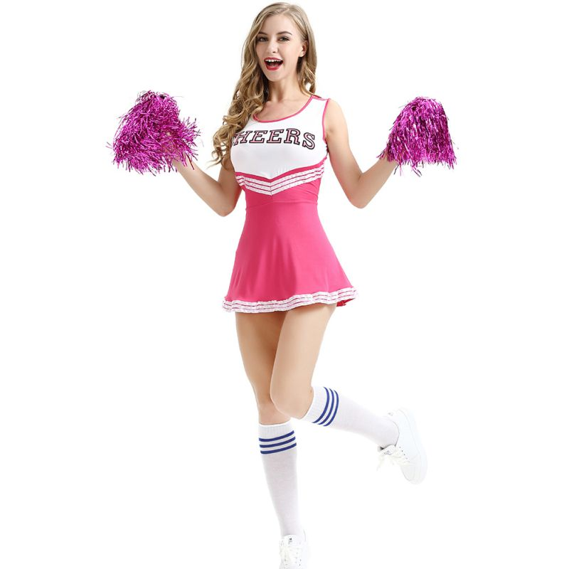 Plus XXL Sexy Baby Girl Stage Performance Dress School Cheerleader Fancy Dress Outfit Uniform High School Musical Costume Suit