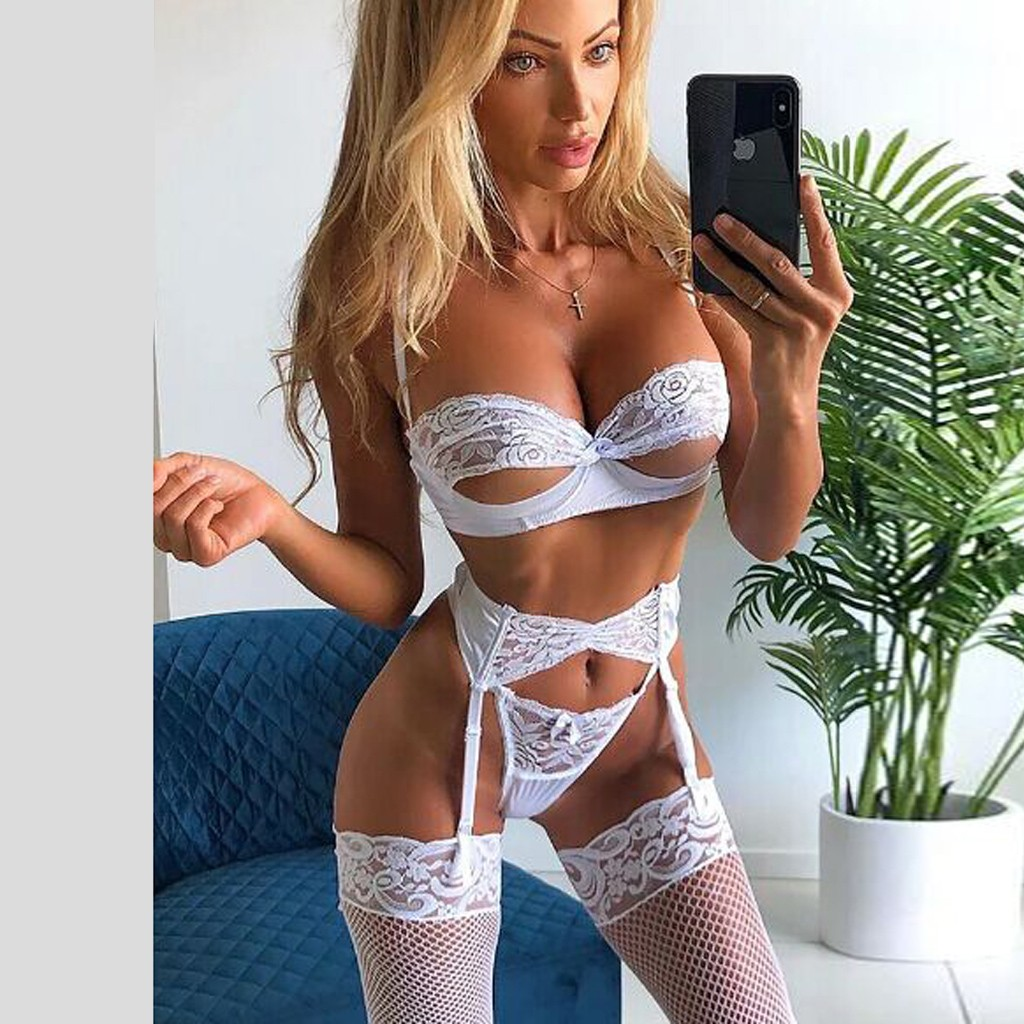 Sexy Lingerie Women Erotic Porno Babydoll Open Bra Panties Garter Lenceria Underwear Lace Temptation Langerie Costumes For Sex