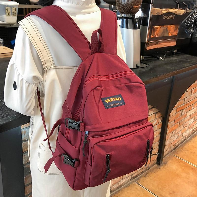 Student Female Buckle Backpacks Women Large Capacity School Bag Girl Nylon Travel Backpack Multi Pocket Fashion Bag Teenage Lady