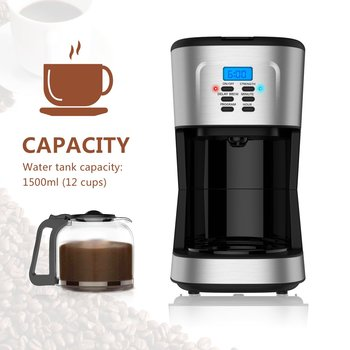Barsetto Household Fully-automatic Drip Coffee Machine with Glass Pot & Filter Coffee Maker Drip Cafe Coffee CM1095T EU Plug health raising pot is fully automatic and thickened glass