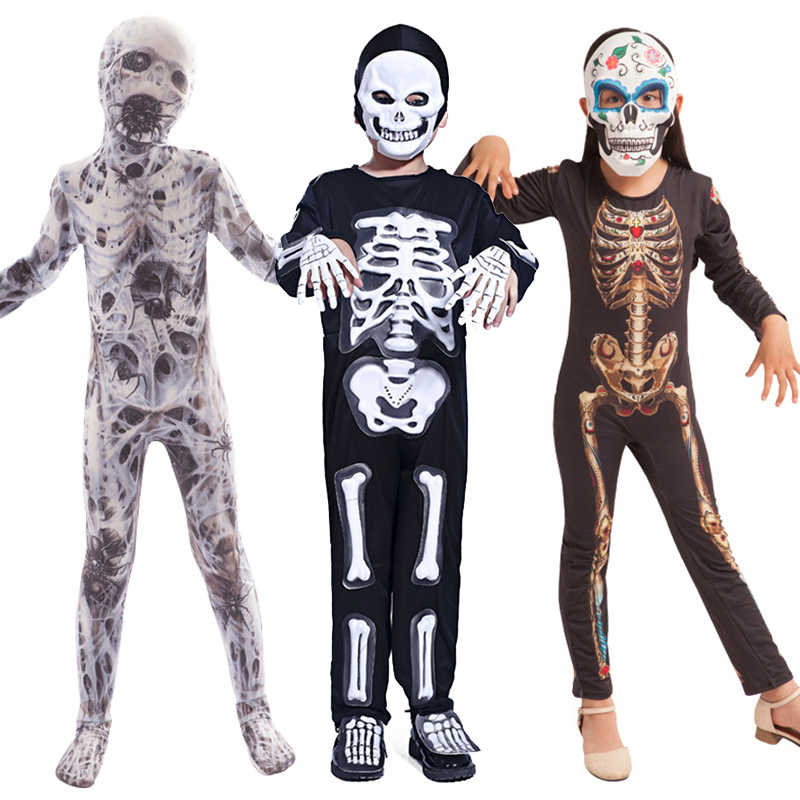 Halloween Kostüme für Kinder Horror Zombies Junge Mädchen Skeleton Kleid up Fantasie Cliparts Overall Kinder Onesie Monster Kostüm