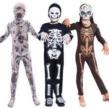 Halloween Kostüme für Kinder Horror Zombies Junge Mädchen Skeleton Kleid up Fantasie Cliparts Overall Kinder Onesie Monster Kostüm