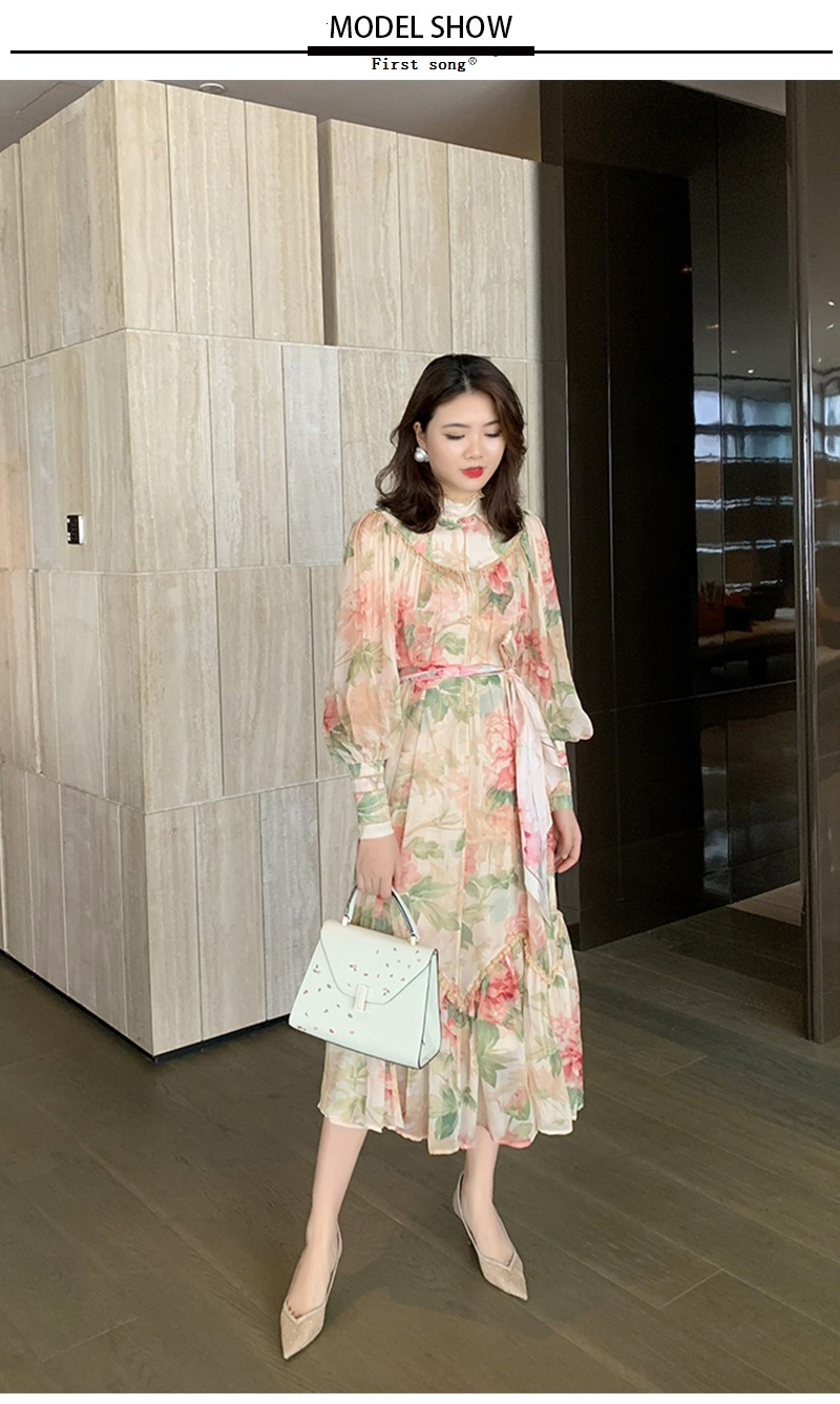Women's tight stitching loose banding chiffon print dress 2020New summer temperament lantern sleeves big swing women's dress XL