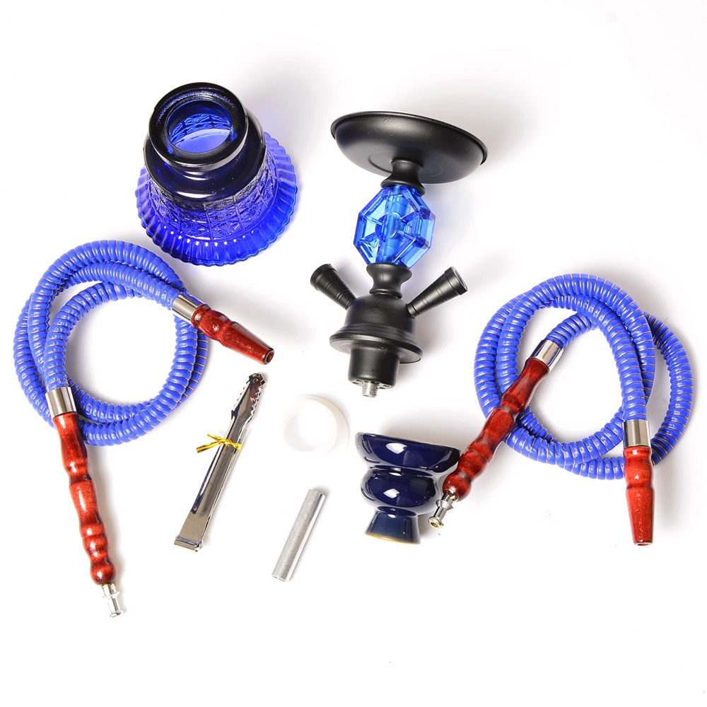 Small Travel Hookah Double Hose Glass Shisha Pipe Set Nargile Chichas with Narguile Hose Bowl Charcoal Tongs Smoking Water Pipe 10