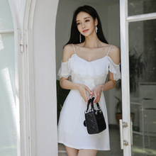 2019 Korean sexy tight-fitting V-neck sling white dress crisscross v neck form fitting dress