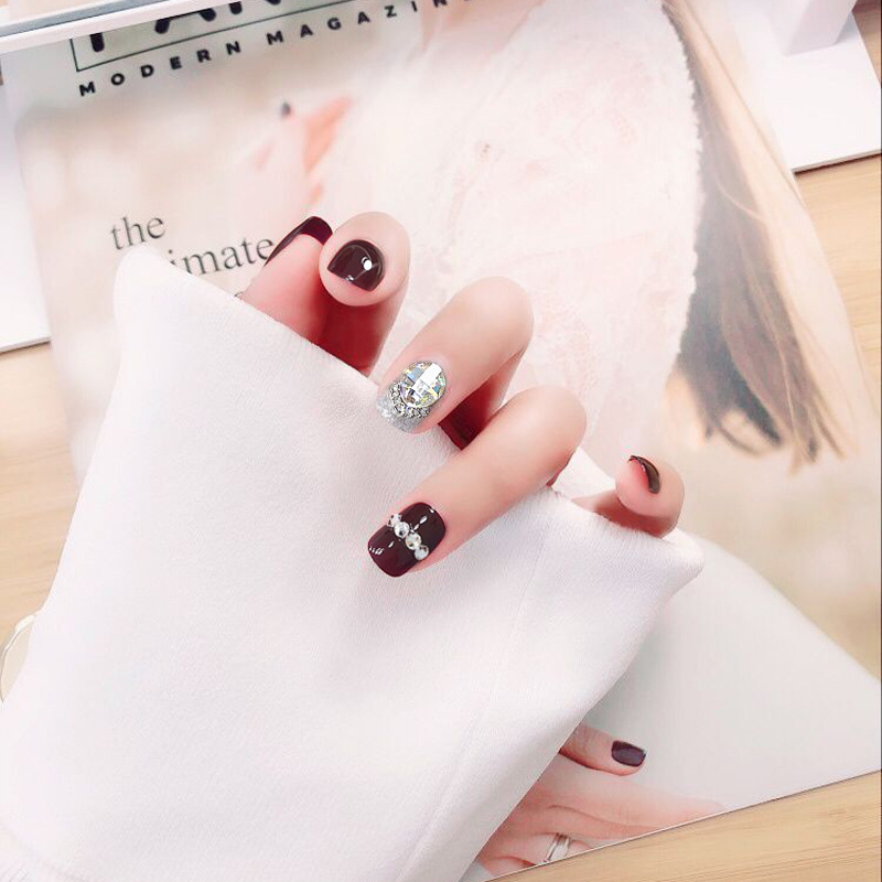 Fake Nails Stickers Women's Bride Manicure Patch Wine Red Disassembly Pregnant Women Wearable With Diamond Waterproof Students N