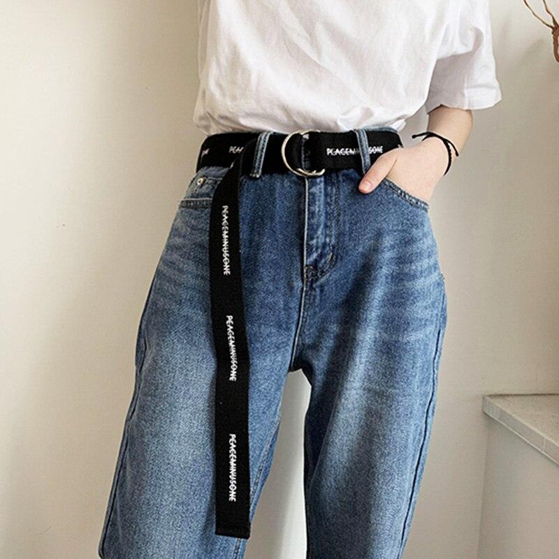 Women Men Letter Printed Belt Long Canvas D Ring Buckle Waist Strap Female Student Jeans Trouser Harajuku Black Waistband