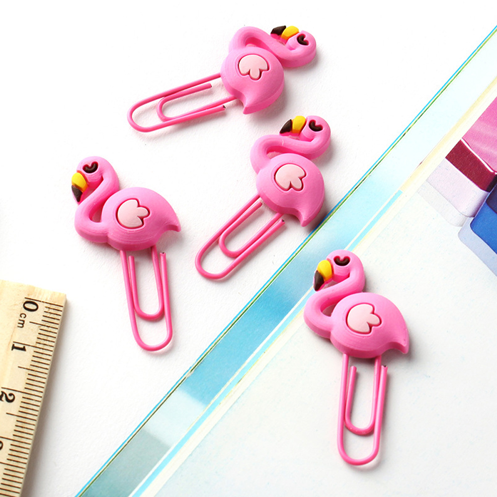 8pcs Flamingo Paper Clip Pvc Soft Plastic Metal Bookmark Holder Unicorn Paper Clip Office Stationery Gift Clip Cute Paper Clips