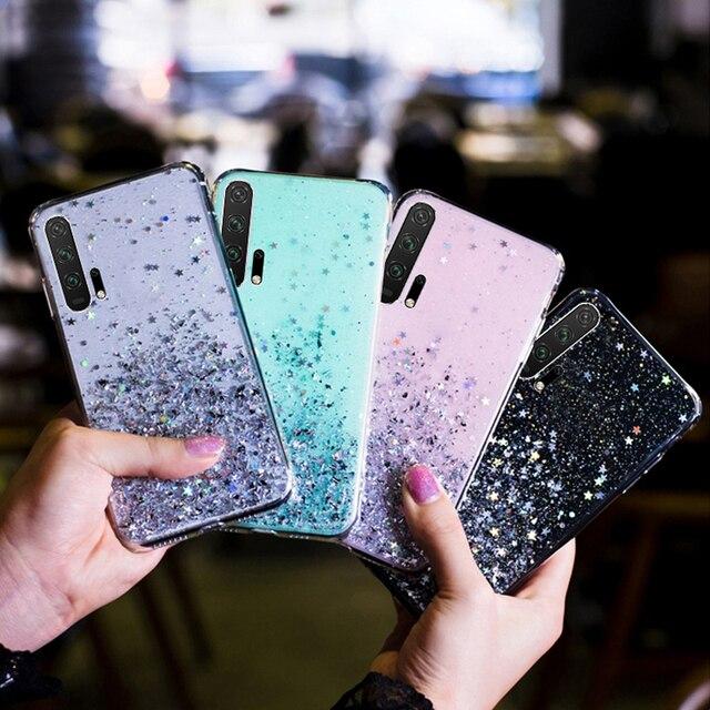 LOVECOM luksusowe gradientu Glitter gwiazda etui na telefony dla Huawei P40 P20 P30 Pro Lite Mate 20 Pro przezroczysty miękki telefon tylna okładka