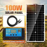 100W Solar Panel Dual USB 18V Solar Power Panels+Line+30A USB Solar Charge Controller for Outdoor Camping Car Boat Solar Battery