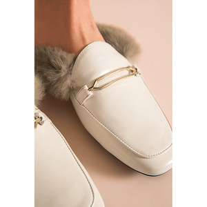 Image 5 - BeauToday פרווה כפכפים נשים כבש עור ארנב שיער פרדות מתכת אבזם כיסוי כיכר הבוהן גבירותיי נעליים שטוחות בעבודת יד 37010
