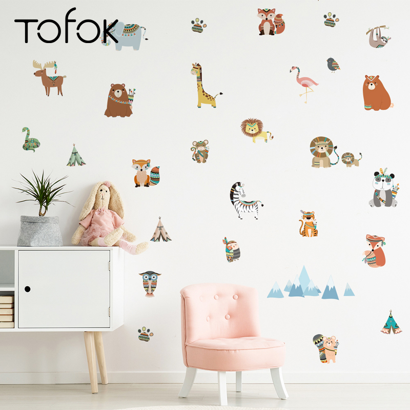 Tofok Ins Tribal Animals Wall Sticker Creative DIY Indian Style Children Living Room TV Sofa Background Decal Home Nursery Decor(China)