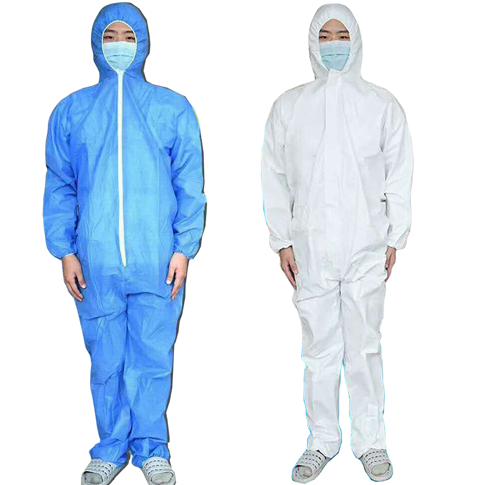 Disposable Jumpsuit Lab Jacket Blue White Romper Loose Breathable Waterproof Elastic Cuff Hat Overalls Anti-dust Protection