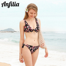 Anfilia New Women Bikini Set Graceful Floral Print Swimsuit Sexy Swimwear Strappy Bikini Sets Beachwear Fashion Bathing Suit