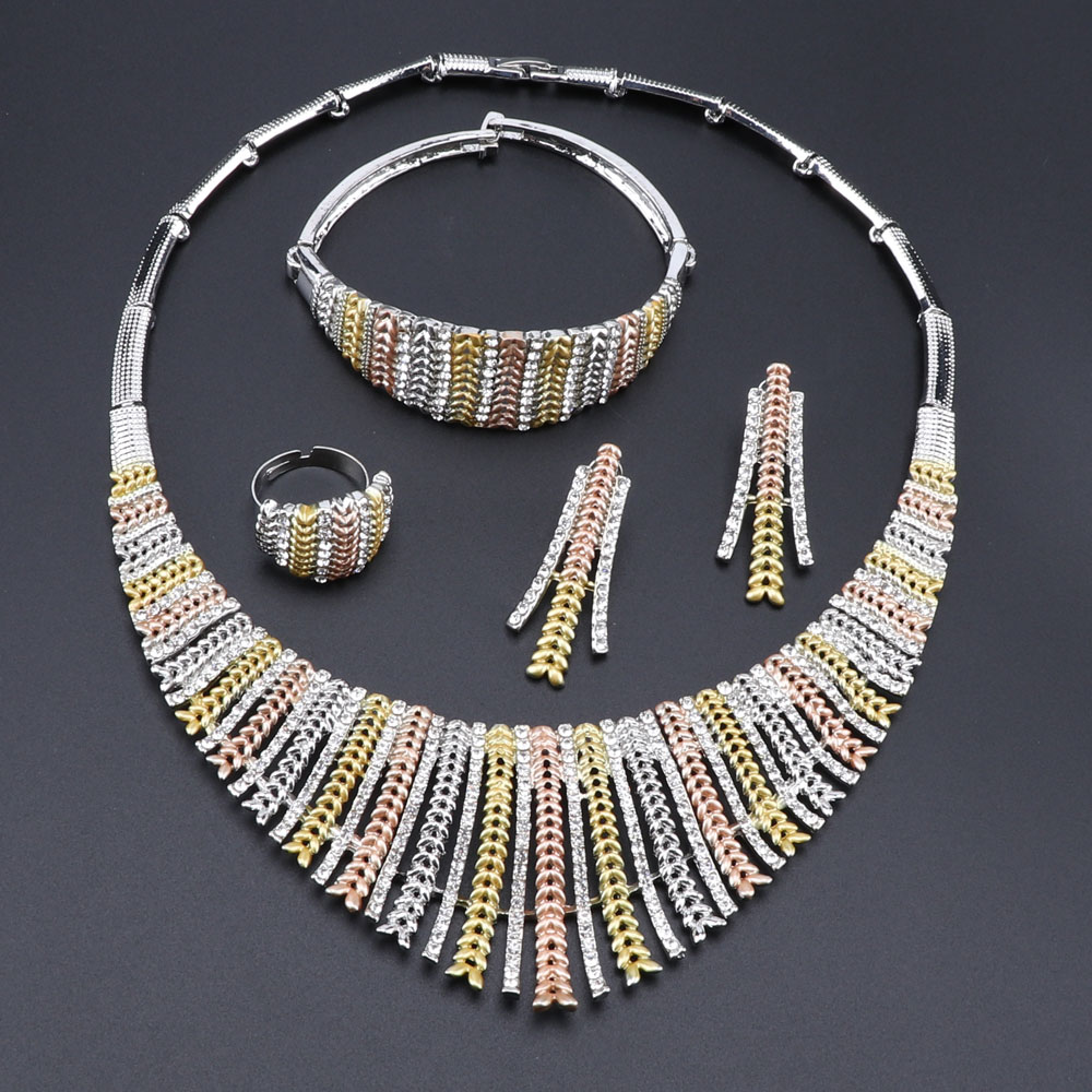 Image 2 - Fashion Wedding Dubai Africa Nigeria African Jewelry Set Silver Plated Necklace Earrings Set Romantic Woman Bridal Jewelry SetsBridal Jewelry Sets   -