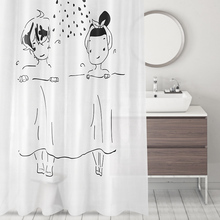 Cartoon Waterproof Shower Curtains Mildew Curtain Toilet Partition Bathroom with Hooks
