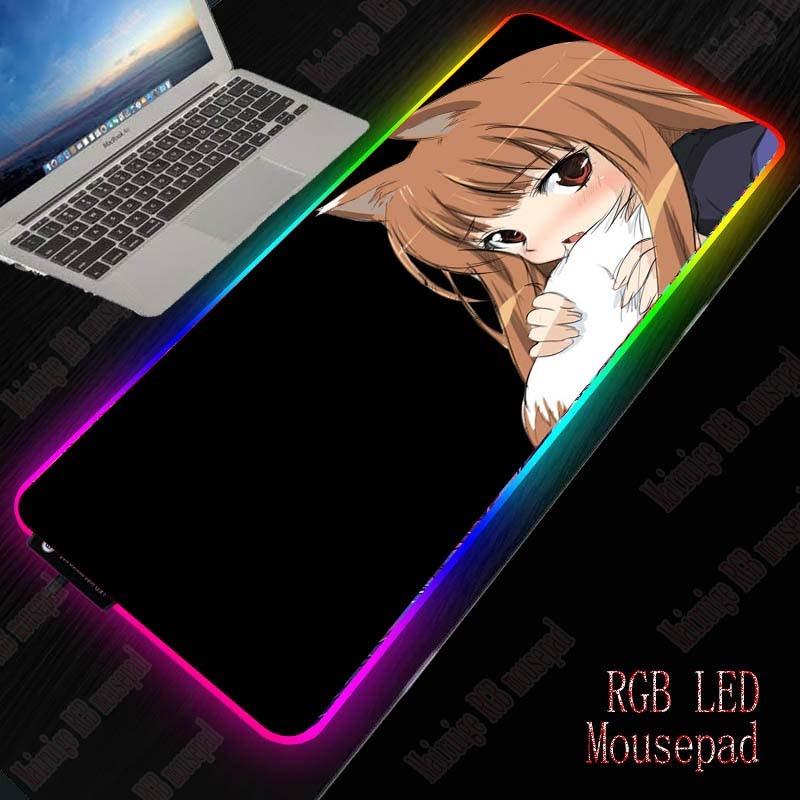 XGZ Anime Cute Girl Gaming Mouse Pad RGB Gamer Large Mousepad LED Lighting USB Keyboard Colorful Desk Pad for PC Laptop Desktop 1